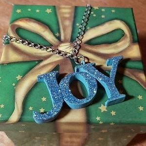 "CHRISTmas JOY Blue Glittered 24"" Chain"